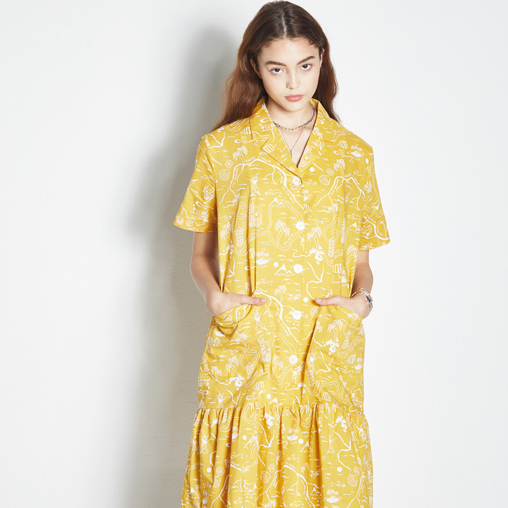 DRAWING SHORT SLEEVE ONE-PIECE YELLOW